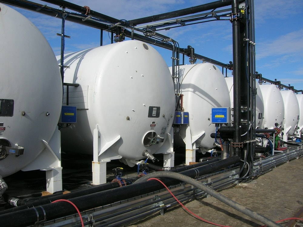 Row of chemical tanks.